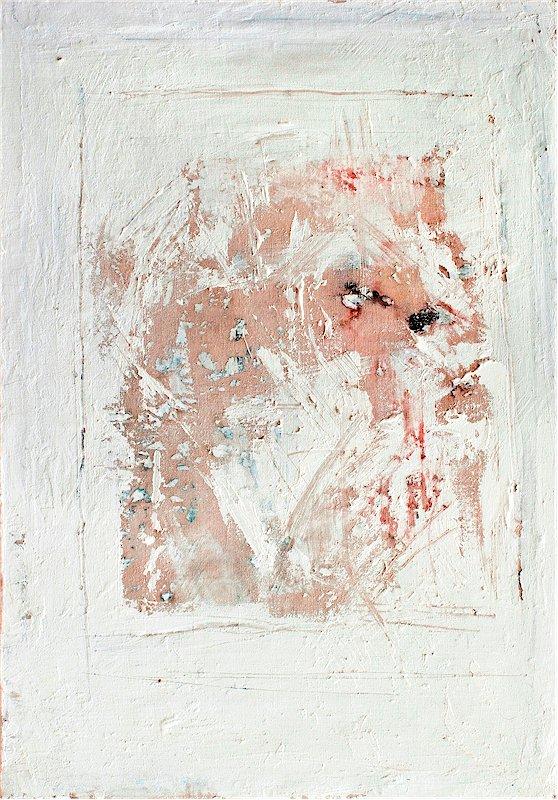 Visage au blanc acrylique de Violaine Pilzer